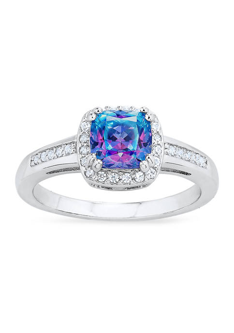 Vibrant Purple Cubic Zirconia Ring in Sterling Silver