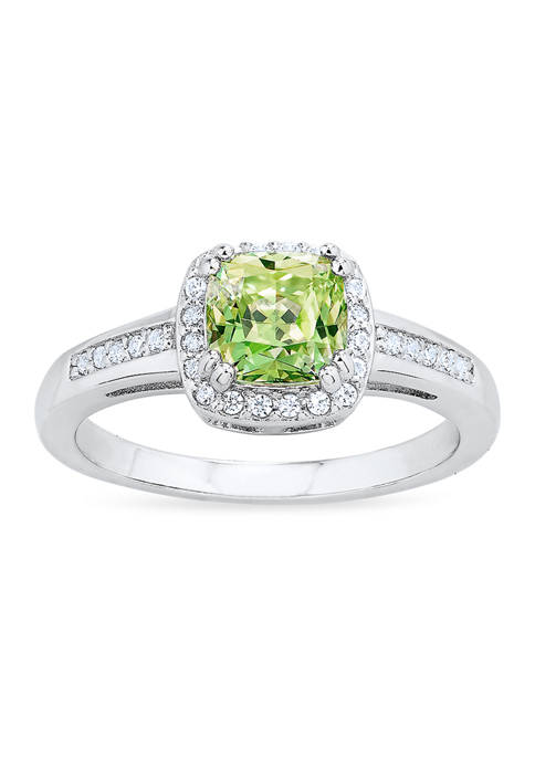 Vibrant Green Cubic Zirconia Ring in Sterling Silver