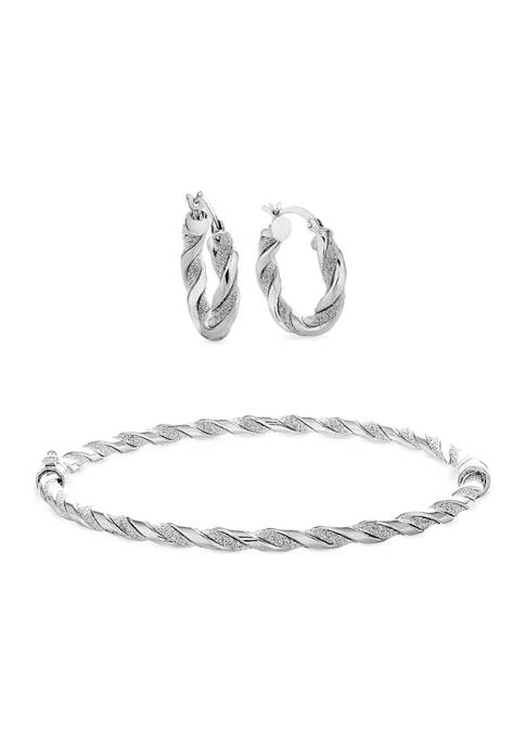 Sterling Silver Glitter Twist Bangle and Hoop Earring Set