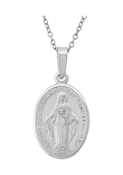 18-Inch Sterling Silver Virgin Mary Oval Medallion Necklace