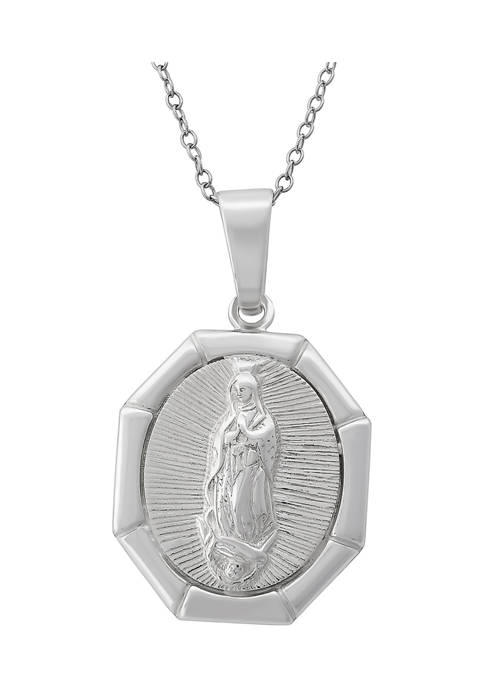 18-Inch Sterling Silver Octagon Virgin Mary Medallion Pendant Necklace
