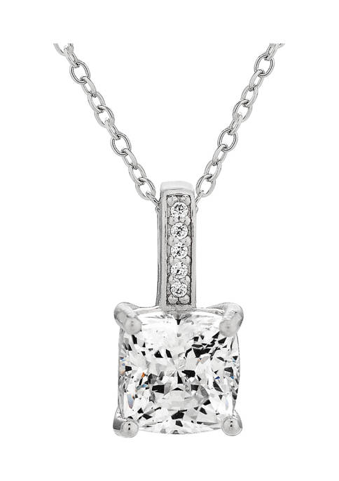 Forever New Cushion CZ Pendant in Steling Silver