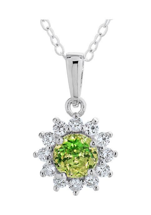 Vibrant Green CZ Pendant in Sterling Silver
