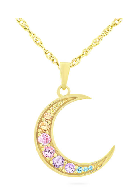 Rainbow Cubic Zirconia Moon Necklace in 14K Gold Plated Sterling Silver