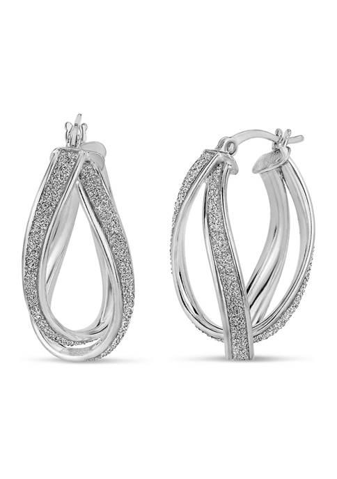 Sterling Silver Pear Shaped Glitter Twist Hoop Earrings