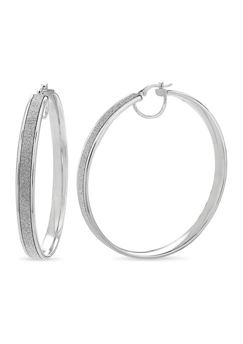 Sterling Silver Rhodium Glitter Hoop Earrings