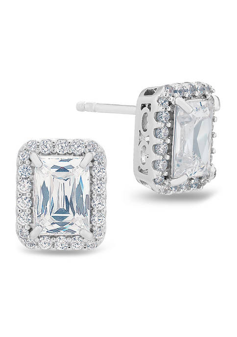 Forever New Baguette and Round CZ Stud Earrings