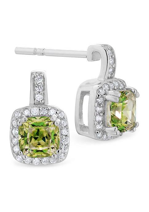Vibrant Green CZ Earrings in Sterling Silver