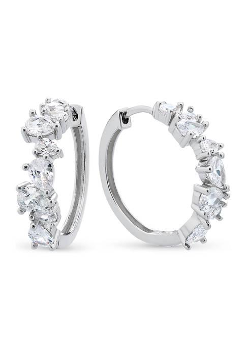 Sterling Silver Pear Cubic Zirconia Huggie Hoop Earrings