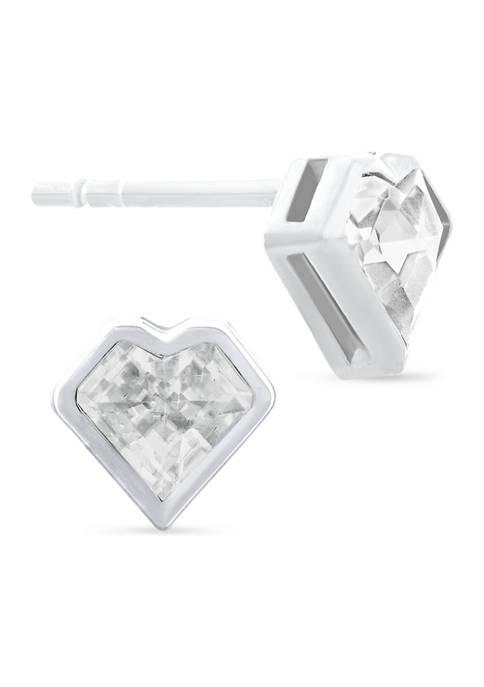 White Cubic Zirconia Bezel Heart Stud Earrings in Sterling Silver