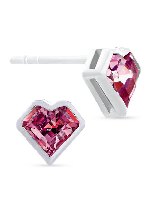 Red Cubic Zirconia Bezel Heart Stud Earrings in Sterling Silver
