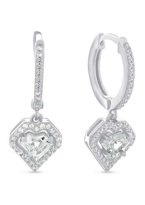 White Cubic Zirconia Dangle Heart Huggie Earrings in Sterling Silver
