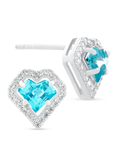Aqua Blue Cubic Zirconia Heart Frame Stud Earrings in Sterling Silver
