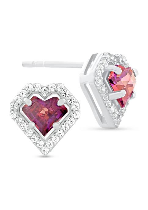 Red Cubic Zirconia Heart Frame Stud Earrings in Sterling Silver