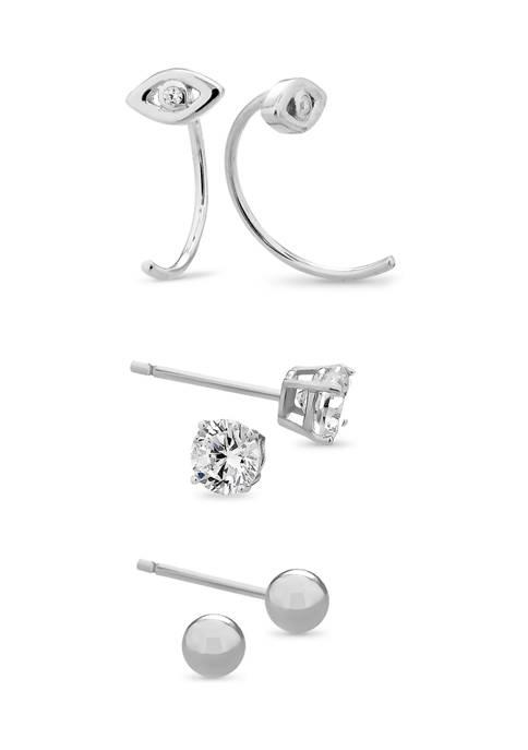 Sterling Silver Cubic Zirconia Evil Eye Hoop, Ball, and Cubic Zirconia  Stud 3 Pair Earring Set