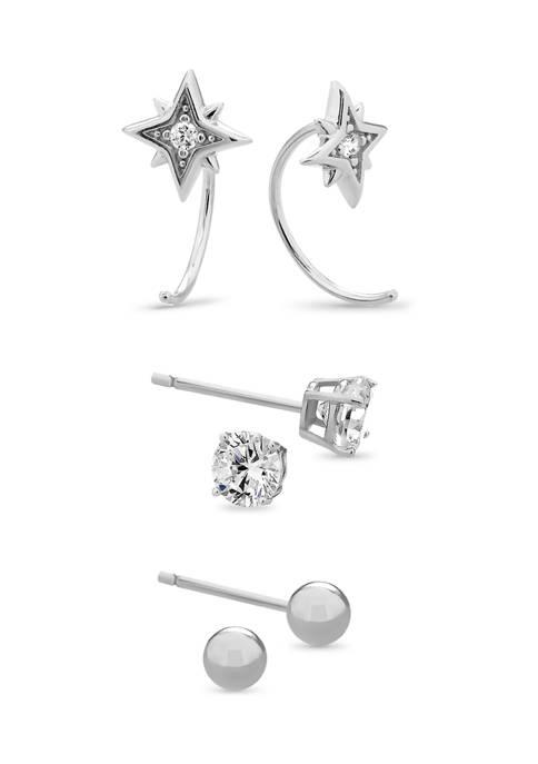 Sterling Silver Cubic Zirconia Starburst Hoop, Ball, and Stud 3 Pair Earring Set