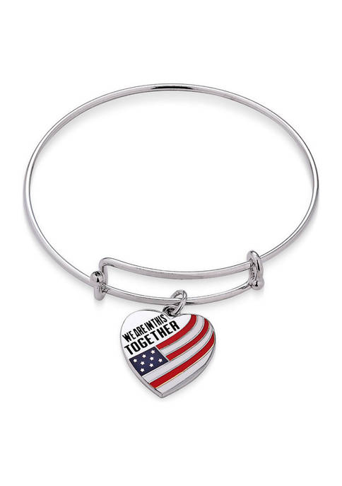 """Sterling Silver """"We Are In This Together """" Flag Heart Charm Bangle"""