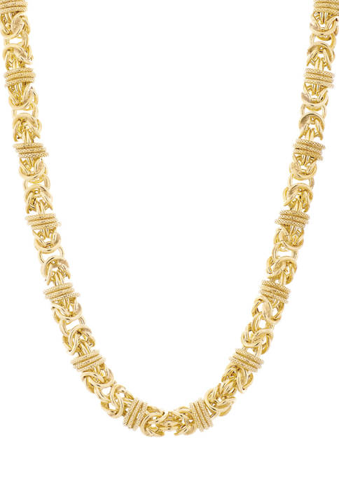 14K Gold Plated Byzantine Wrapped Section Necklace