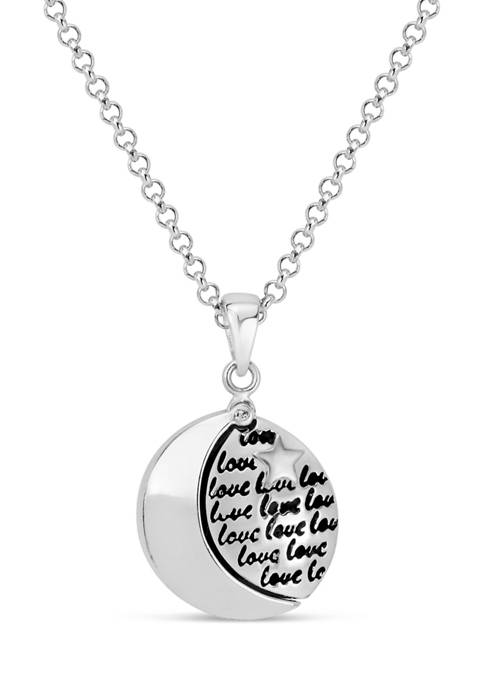 """18-Inch Sterling Silver """"Love You To The Moon and Back"""" Hidden Message Pendant Necklace"""