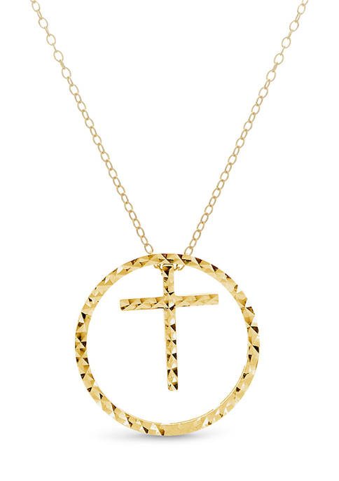 14k Gold-Plated Sterling Silver Circle with Cross and Heart 4 Piece 18 Inch Necklace Set