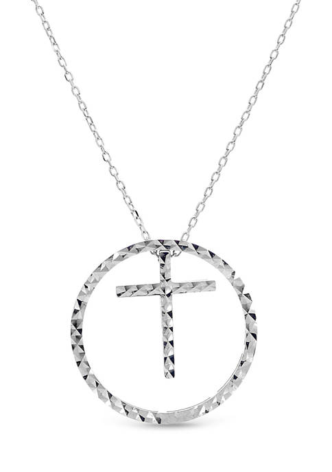 Sterling Silver Circle with Cross and Heart 4-Piece 18-Inch Necklace Set