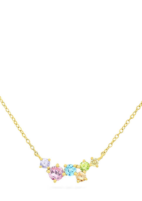 Rainbow Multi Cubic Zirconia Necklace in 14K Gold Plated Sterling Silver