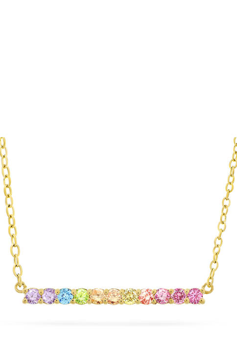 Rainbow Cubic Zirconia Bar Necklace in 14K Gold Plated Sterling Silver