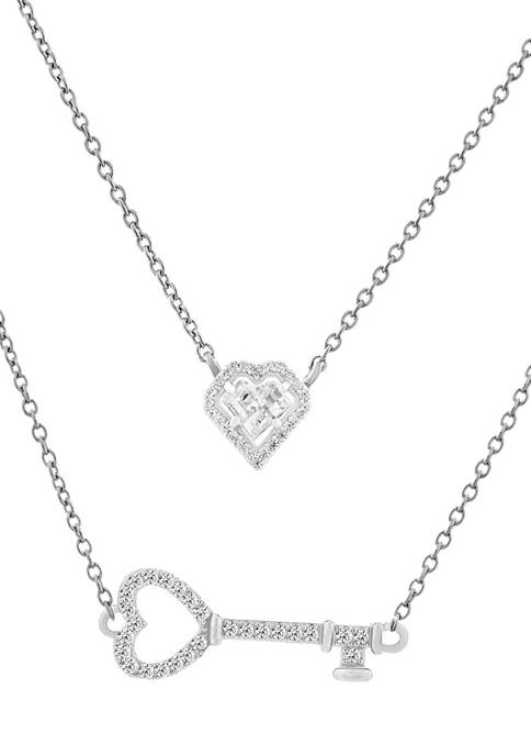 White Cubic Zirconia Heart and Key Layered Necklace in Sterling Silver