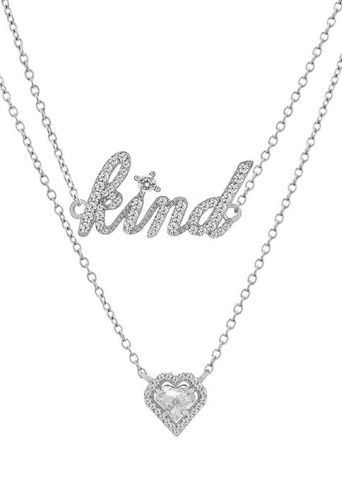 """White Cubic Zirconia Heart and """"Kind"""" Layered Necklace in Sterling Silver"""