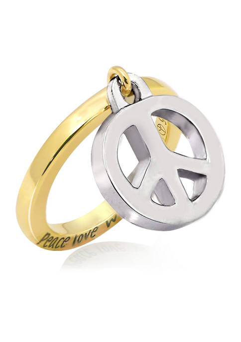 Peace Charm Dangle Ring, Sterling Silver