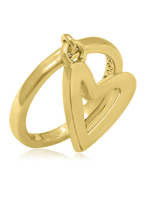 Heart Charm Dangle Ring, 14K Yellow Gold-Clad Sterling Silver