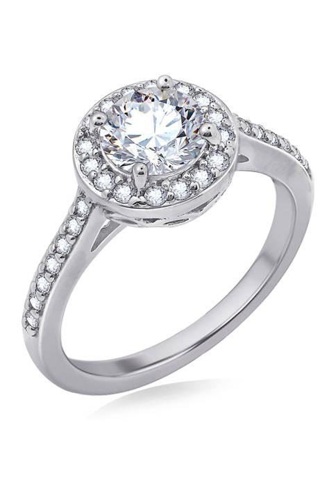 1.5 ct. t.w. Swarovski® Zirconia Round-Cut Halo Ring