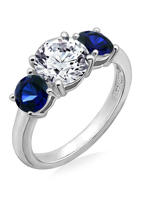 Swarovski® Zirconia Round-Cut Center Stone and Created Sapphire Ring