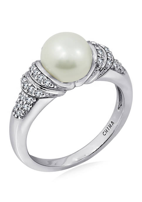 Platinum Plated Sterling Silver Cubic Zirconia Freshwater Cultured Pearl Ring