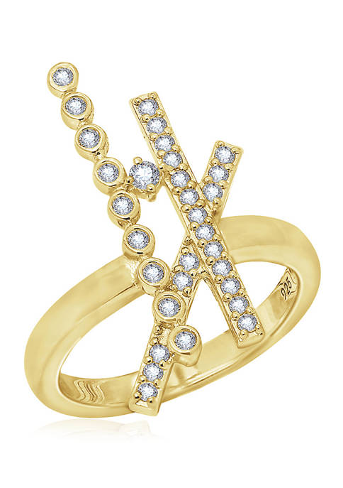 1/2 ct. t.w. Cubic Zirconia Yellow Gold Plated Sterling Silver Crisscross Ring