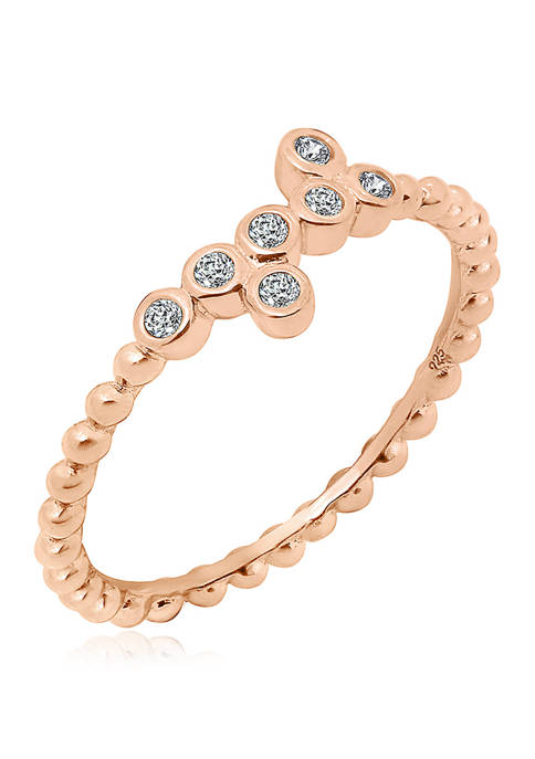 1/8 ct. t.w. Cubic Zirconia Rose Gold Plated Sterling Silver a Bezel 7 Stone Granule Ring