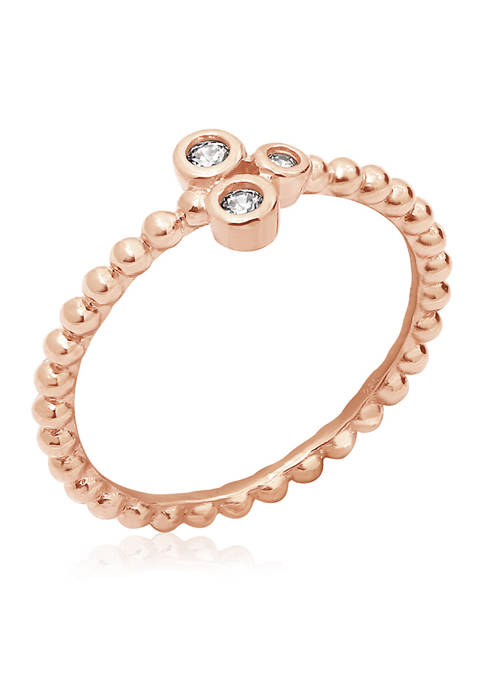 1/10 ct. t.w. Cubic Zirconia Rose Gold Plated Sterling Silver  Clover Ring