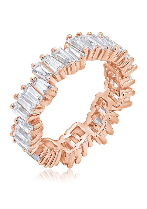 3.24 ct. t.w. Cubic Zirconia Rose Gold Plated Sterling Silver Baguette Cut Wavy Eternity Band Ring