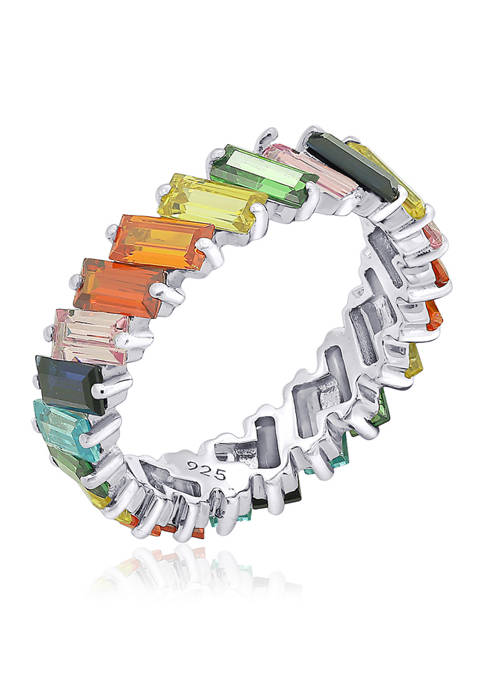 7.3 ct. t.w. Multicolor Stone Platinum Plated Sterling Silver  Baguette Rainbow Eternity Ring