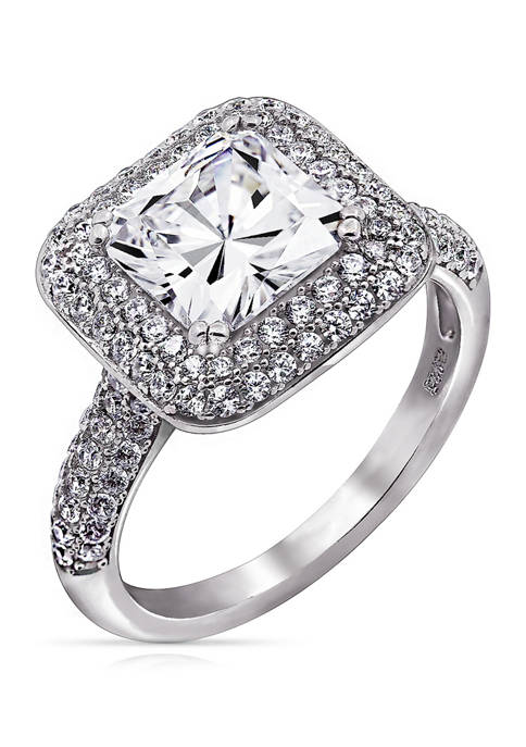 3.73 ct. t.w. Cubic Zirconia Platinum Plated Sterling Silver Large Square Double Halo Ring