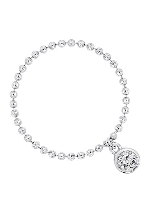 Rhodium Plated Sterling Silver Ball Chain Ring with 1/10 ct. t.w. Cubic Zirconia Charm