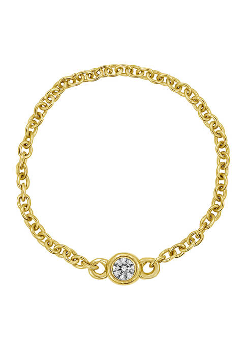 Yellow Gold Plated Sterling Silver Cable Chain Ring with Bezel 1/10 ct. t.w.  Cubic Zirconia