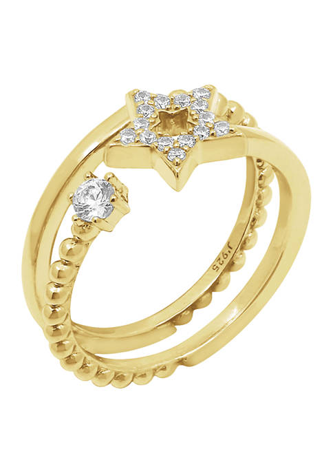 Yellow Gold Plated Sterling Silver 1/6 ct. t.w. Cubic Zirconia Celestial Star Ring Set