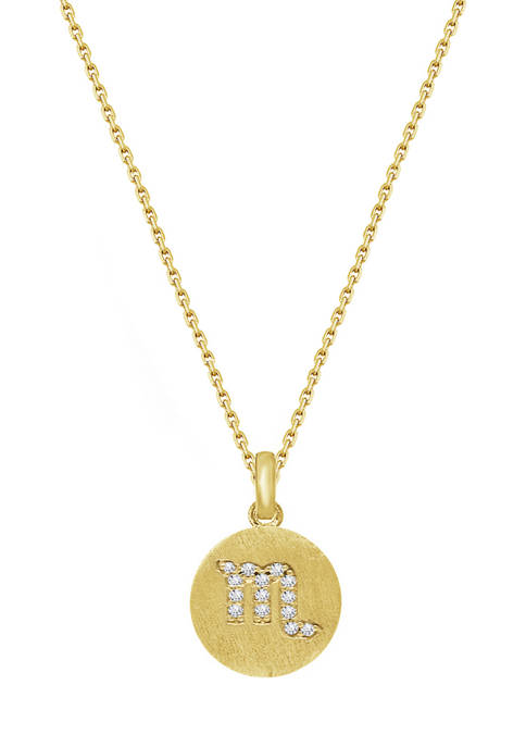 Yellow Gold Plated Sterling Silver Pavé  Zodiac Disc Pendant Necklace, 16 in + 2 in Extender