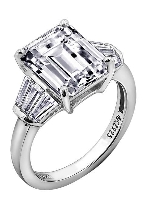 DIAMONBLISS Emerald Cut Cubic Zirconia Ring