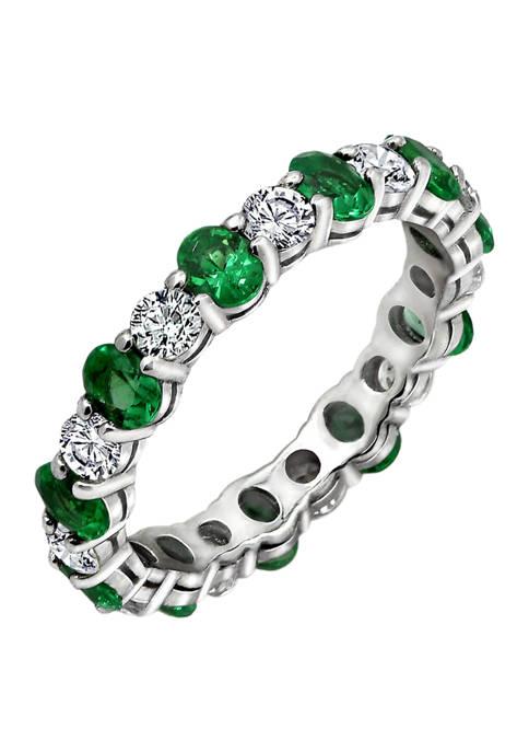 DIAMONBLISS Oval Cut Created Emerald Eternity Band Ring