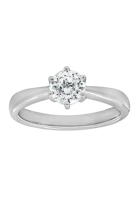 2 ct. t.w. 6.25 Millimeter Round Cut Cubic Zirconia Solitaire Ring
