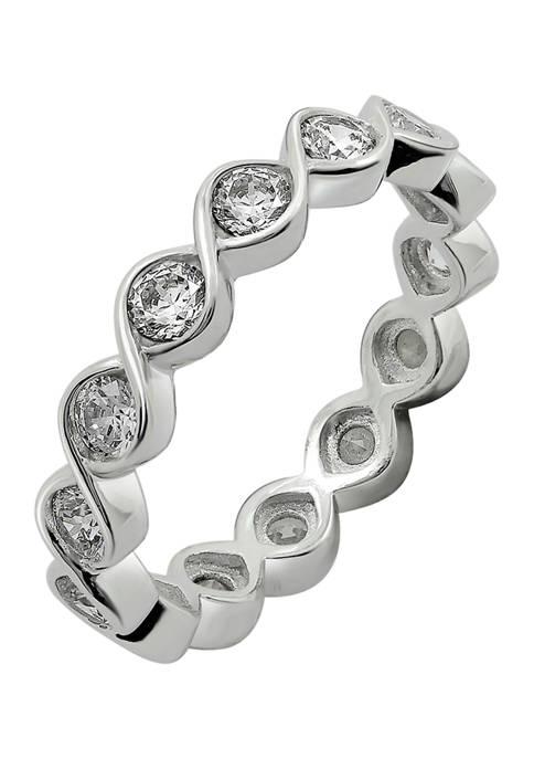 DIAMONBLISS Cubic Zirconia Twisted Bezel Set Eternity Band