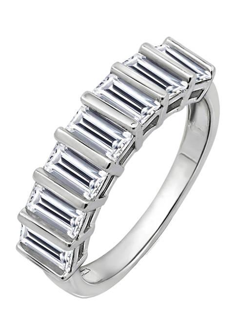 DIAMONBLISS Baguette Cut Cubic Zirconia Band Ring