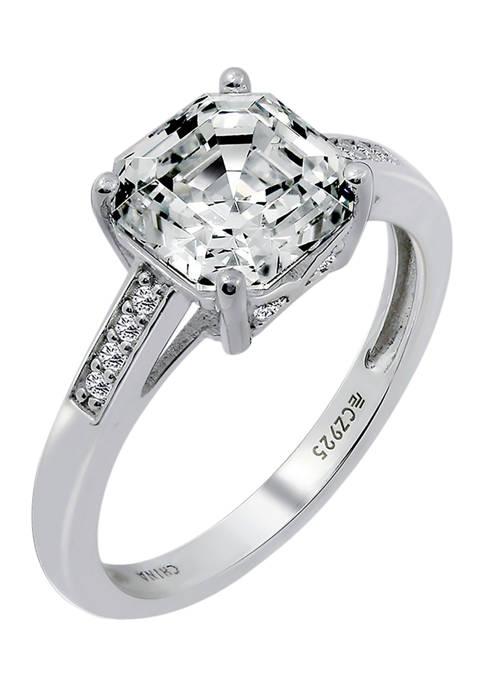 DIAMONBLISS Asscher Cut Cubic Zirconia Solitare Band Ring